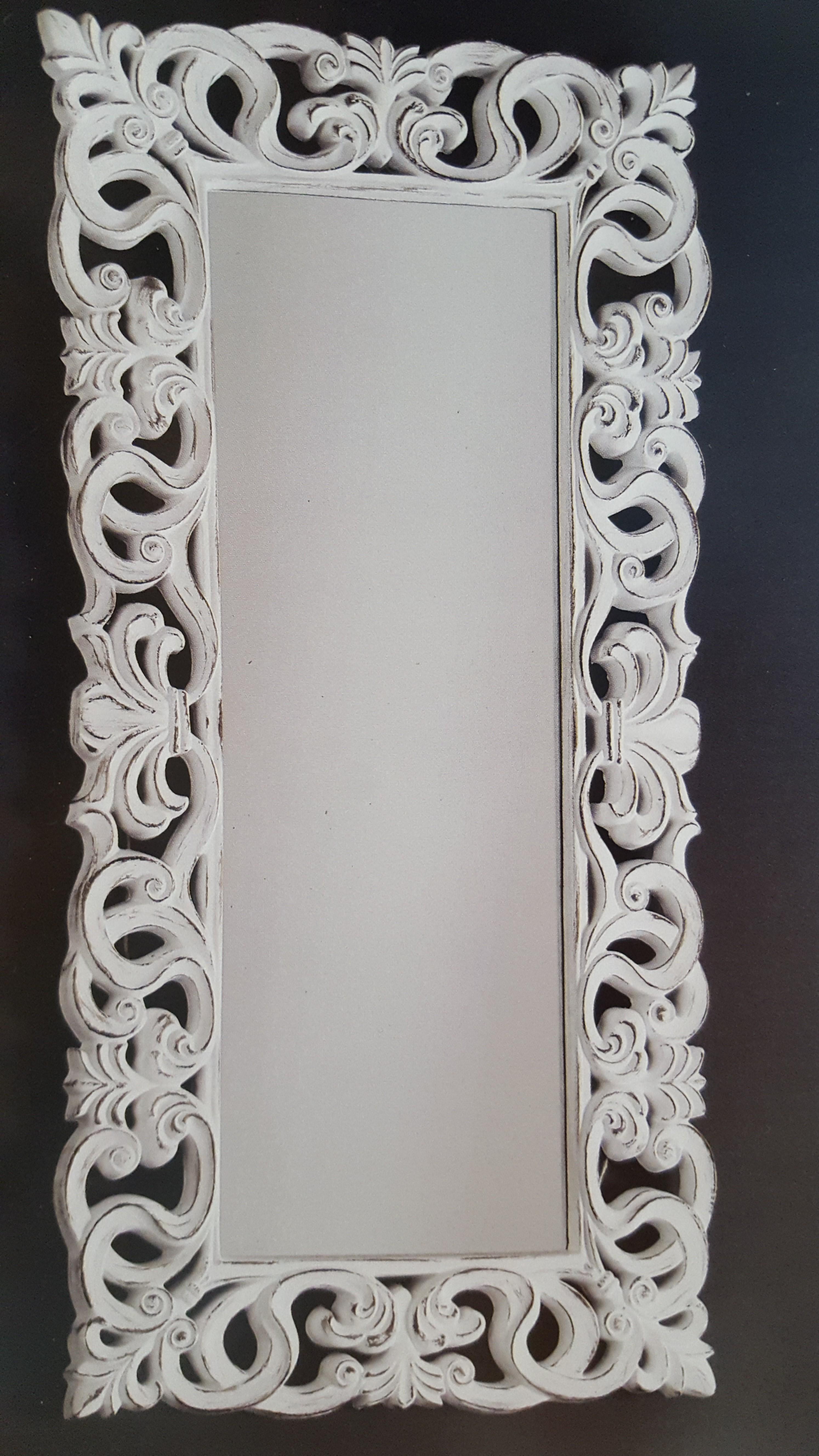 espejo con marco de arabescos de polirresina pan de plata o blanco decap