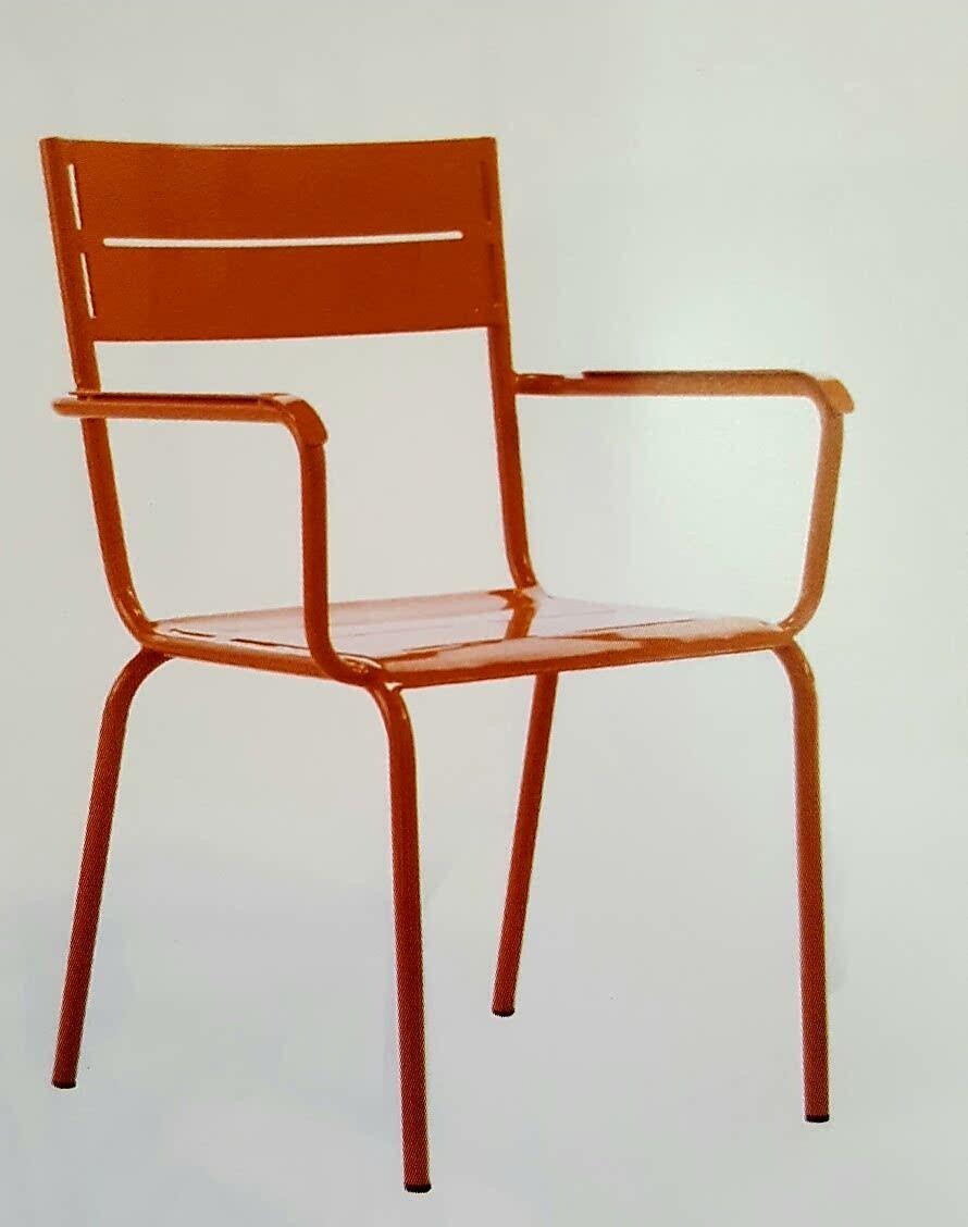 Forja decor jard n silla de chapa met lica ranurada - Muebles de chapa metalica ...